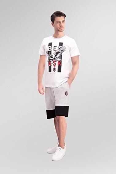 Beşiktaş Beşiktaş Lisanslı Grimelanj Erkek Bermuda Takım Beyaz